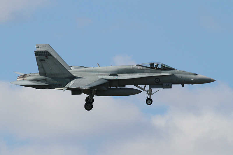 A21-44 McDonnell-Douglas F/A-18A Hornet (cn 707/AF-44) of 75 Sqn, based at Tindal, NT, at RAAF Pearce during pre-Air Show practice - Fri 18 May 2012.