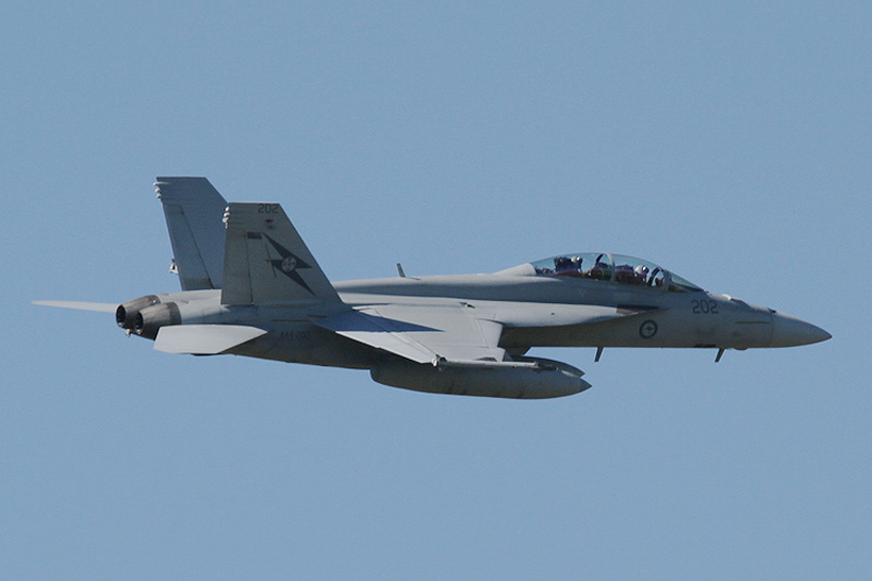 "A44-202 Boeing F/A-18F Super Hornet (cn AF-2, ex 167958) of RAAF, 1 Sqn, Amberley, QLD, named ""City of Ipswich"", during pre-Air Show practice at RAAF Pearce - Fri 18 May 2012."