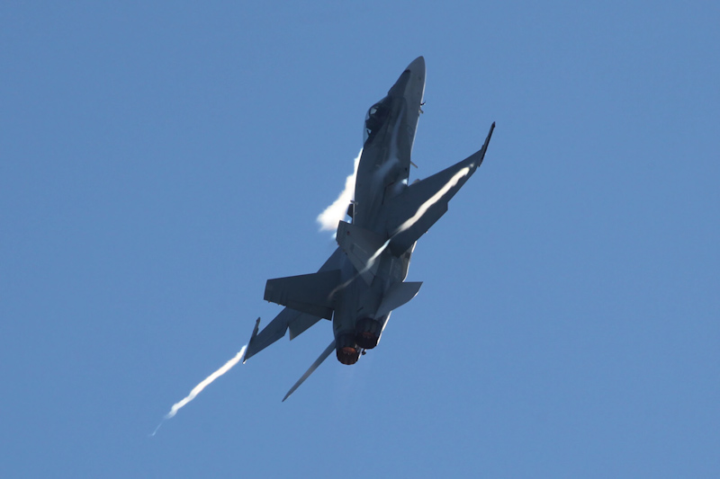 A21-23 McDonnell-Douglas F/A-18A Hornet (cn 483/AF-23) of 75 Sqn, based at Tindal, NT at RAAF Pearce Air Show - Sat 19 May 2012.