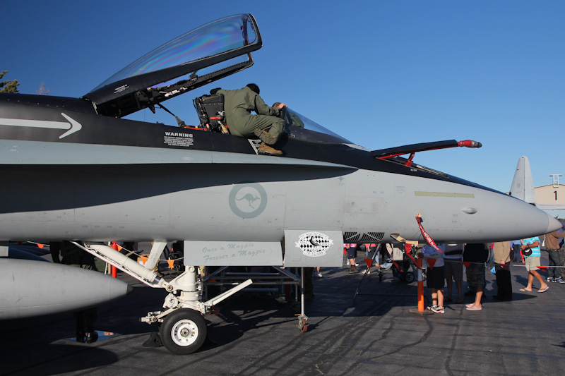 A21-38 McDonnell-Douglas F/A-18A Hornet (cn 483/AF-23) of 75 Sqn, based at Tindal, NT at RAAF Pearce Air Show - Sat 19 May 2012.