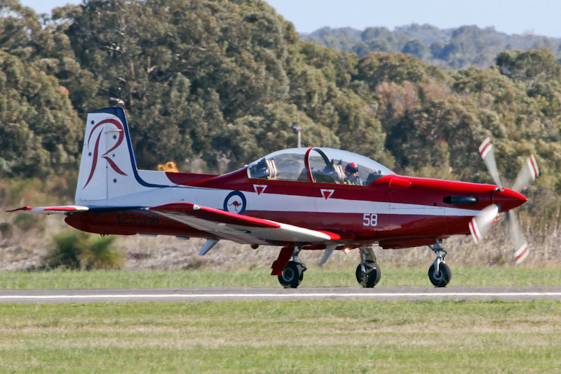 A23-058 Pilatus PC-9/A (cn 558) of RAAF Roulettes Aerobatic Team, based at East Sale, Victoria, at RAAF Pearce Air Show - Sat 19 May 2012.