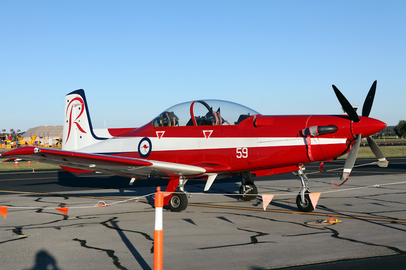 A23-059 Pilatus PC-9/A (cn 559) of RAAF Roulettes Aerobatic Team, based at East Sale, Victoria, at RAAF Pearce Air Show - Sat 19 May 2012.