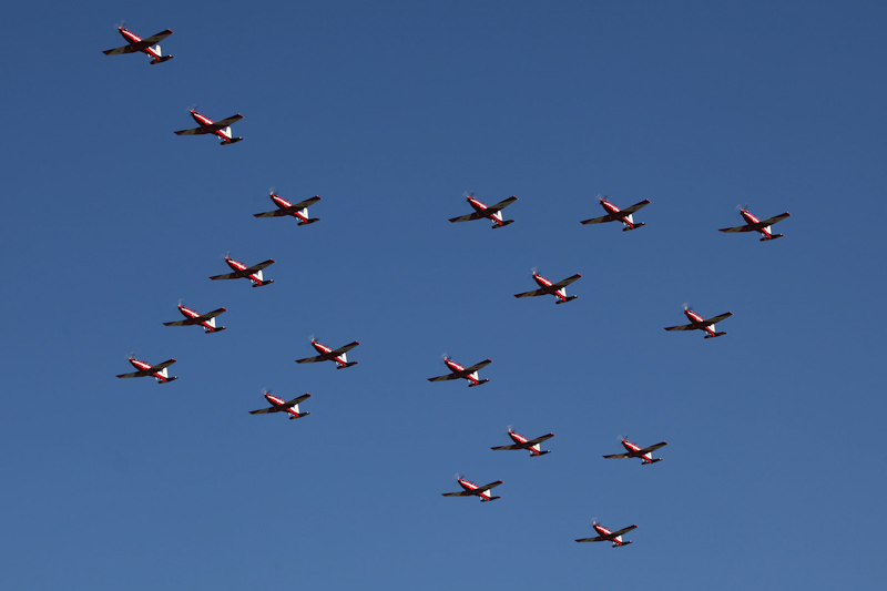 """18 Pilatus PC-9/A aircraft of RAAF 2FTS, based at Pearce, flying in the """"Thunderbird"""" formation at RAAF Pearce Air Show - Sat 19 May 2012."""