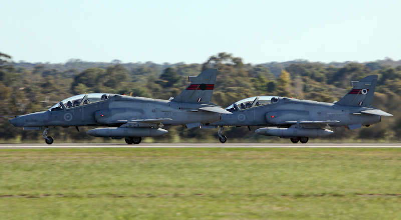 A27-13 (cn DT-13) & A27-17 (cn DT-17) BAE Systems Hawk 127 of RAAF, with 76 Squadron tail markings, at RAAF Pearce Air Show - Sat 19 May 2012.