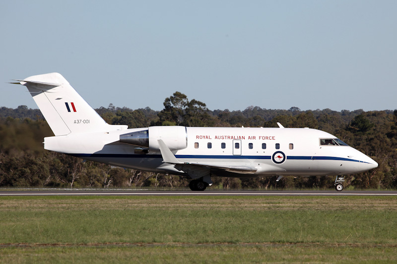 A37-001 Bombardier CL-600-2B16 Challenger 604 (cn 5521, ex N521RF) of RAAF, 34 Sqn, Fairbairn (Canberra), ACT, at RAAF Pearce Air Show - Sat 19 May 2012.