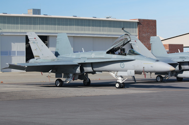 A21-6 McDonnell-Douglas F/A-18A Hornet (cn 287/AF-6) of RAAF, 3 Sqn, Williamtown, NSW at RAAF Pearce Air Show - Sun 20 May 2012.