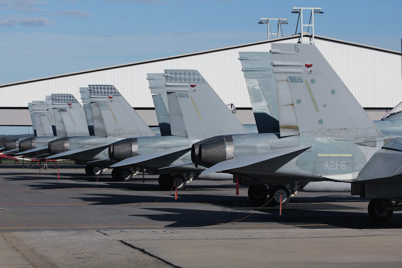 RAAF McDonnell-Douglas F/A-18A Hornets line-up: A21-6 (cn 287/AF-6) of 3 Sqn, Williamtown, NSW; A21-23 (cn 483/AF-23) of 75 Sqn, based at Tindal, NT; A21-36 (cn 595/AF-36) of 75 Sqn, based at Tindal, NT; A21-44 (cn 707/AF-44) of 75 Sqn, based at Tindal, NT; A21-28 (cn 521/AF-28) of 2OCU, based at Williamtown, NSW, at RAAF Pearce Air Show - Sun 20 May 2012.