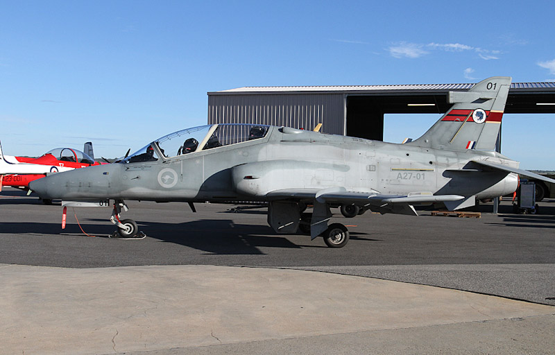 A27-01 BAE Systems Hawk 127 (cn DT01, ex ZJ632) of RAAF, 79 Squadron (with 76 Squadron tail markings), based locally at RAAF Base Pearce, at RAAF Pearce Air Show - Sun 20 May 2012.