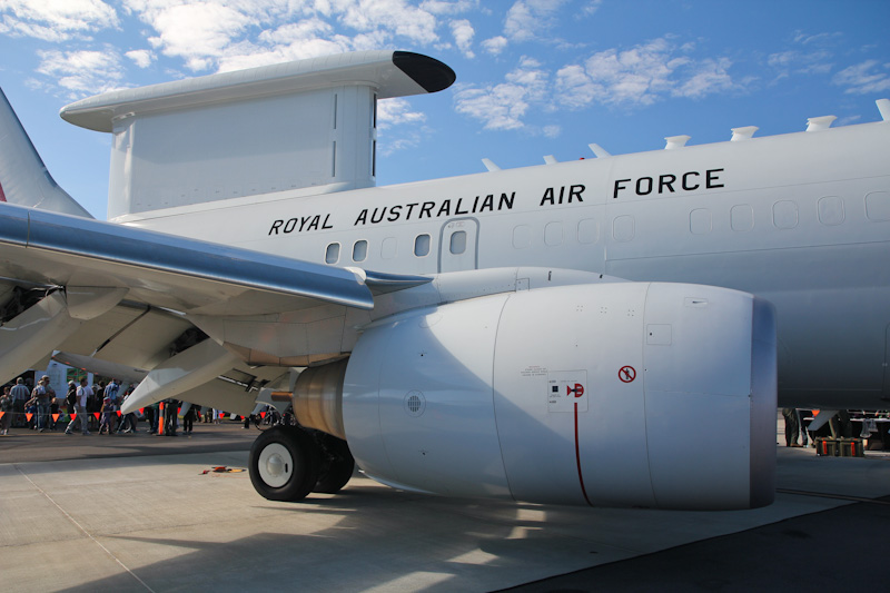 A30-001 Boeing E-7A (737-7ES) Wedgetail (cn 33474/1245, ex N378BC) of RAAF, 2 Sqn, Williamtown, NSW, at RAAF Pearce Air Show - Sun 20 May 2012.