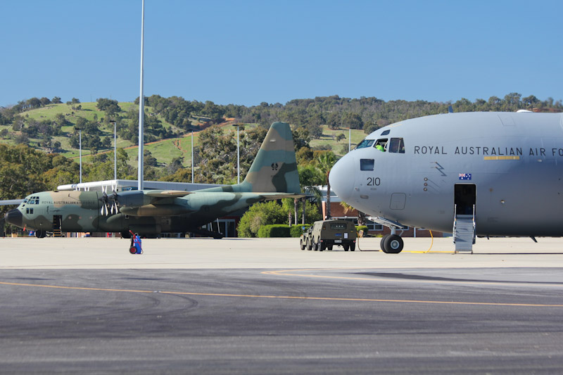 A41-210 Boeing C-17A Globemaster III (cn F-239/AUS5, ex 11-0210) of RAAF, 36 Sqn, based at Amberley, QLD & A97-007 Lockheed C-130H Hercules (cn 4787) of RAAF 37 Sqn, Richmond, NSW at RAAF Pearce Air Show - Sun 20 May 2012.