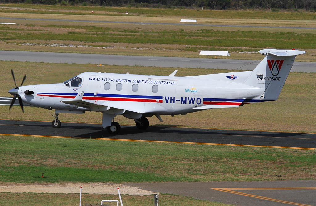 VH-MWO Pilatus PC-12/45 (cn 379) of Royal Flying Doctor Service (Western Operations) at Jandakot Airport - Tue 19 March 2013.