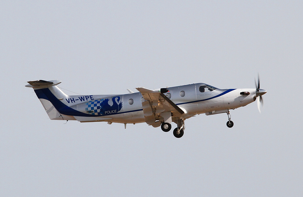 "VH-WPE Pilatus PC-12/45 (cn 704) of WA Police Air Wing, callsign ""POLAIR 63"" at Jandakot Airport - Tue 19 March 2013."