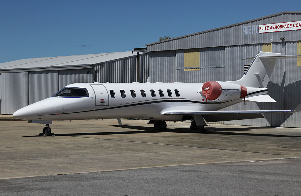 VH-SQD (unmarked) Learjet 45 (cn 45-033) of Singapore Flying College at Jandakot Airport - Fri 22 March 2013.