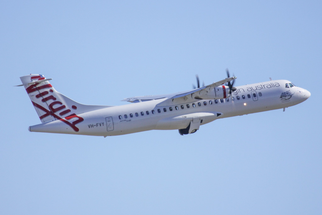 "VH-FVY ATR 72-600 (ATR72-212A) (cn 1073) of Skywest Airlines, operated for Virgin Australia, named ""Marcoola Beach"" at Perth Airport - Sat 30 March 2013."