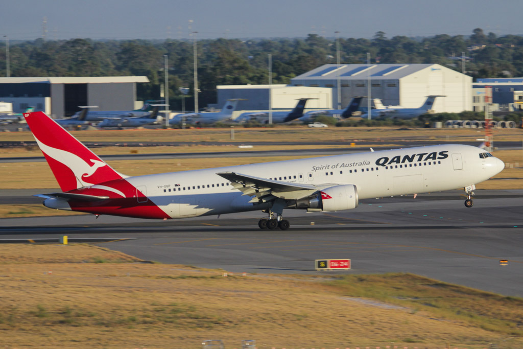 "VH-OGP Boeing 767-338ER (cn 28153/615) of Qantas, named ""Forbes"" at Perth Airport on Fri 1 March 2013."