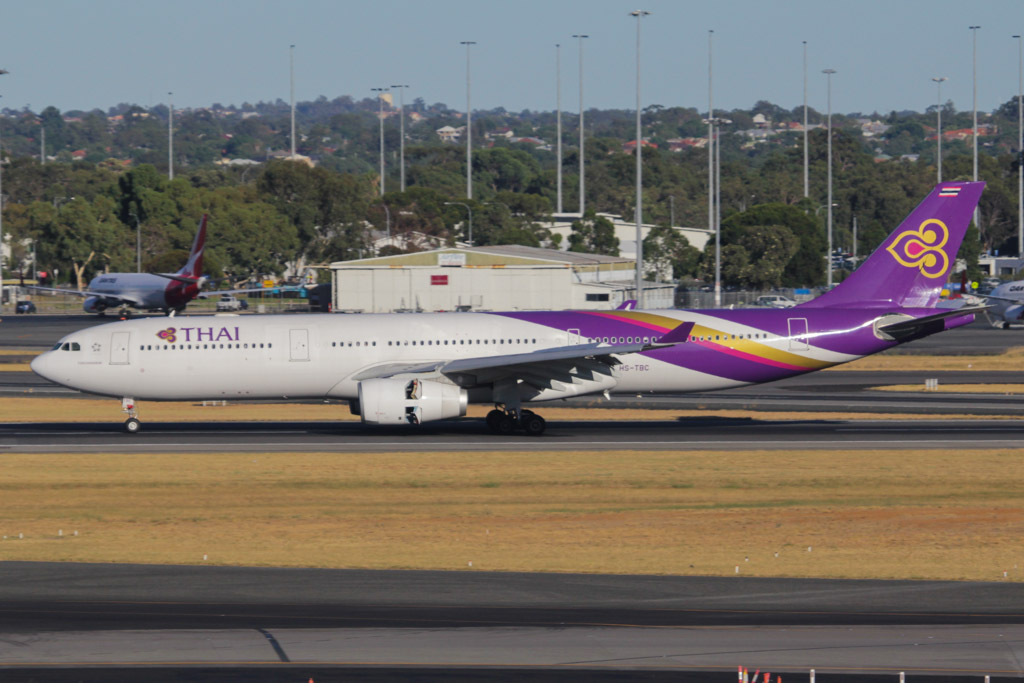 "HS-TBC Airbus A330-343X (cn 1289) of Thai Airways International, named ""'Kanchanaburi"" at Perth Airport - Sat 2 March 2013."