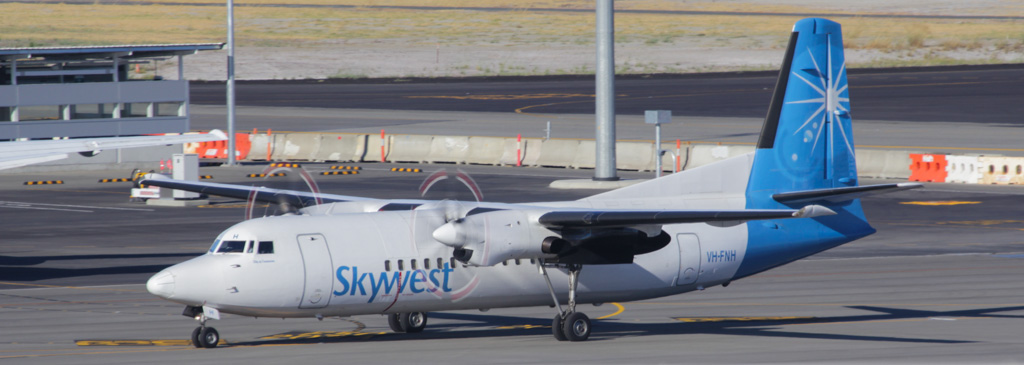 "VH-FNH Fokker 50 (cn 20113) of Skywest Airlines, named ""Shire of Carnarvon"" at Perth Airport - Sat 2 March 2013."