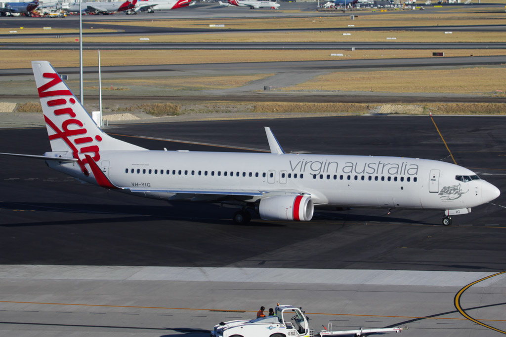 "VH-YIG Boeing 737-8FE (cn 38711/3921) of Virgin Australia, named ""Kings Beach"" at Perth Airport - Sat 2 March 2013."