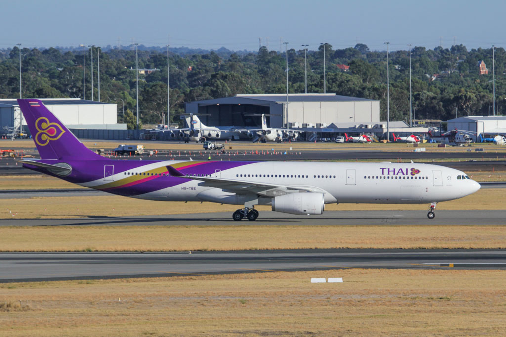 "HS-TBE Airbus A330-343X (cn 1348) Thai Airways International, named ""Sakon Nakhon"" at Perth Airport - Fri 8 March 2013."