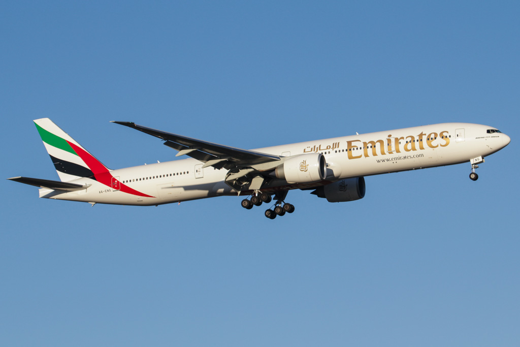 A6-ENG Boeing 777-31H ER (cn 35604/1076) of Emirates at Perth Airport - Sat 30 March 2013.