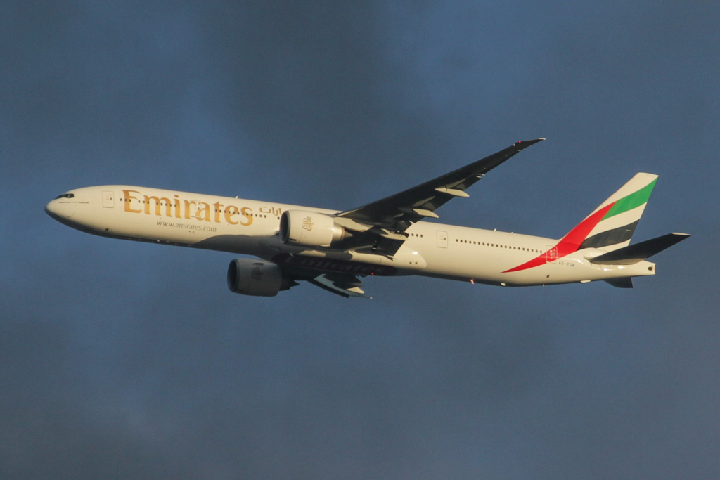 A6-EGN Boeing 777-36N ER (cn 41074/993) of Emirates over northern suburbs of Perth - Sat 20 April 2013