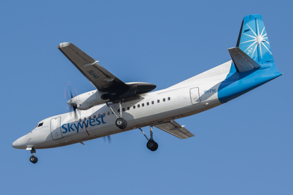 "VH-FNI Fokker 50 (cn 20114) of Skywest, named ""City of Geraldton-Greenough"" at Perth Airport – Fri 26 April 2013"