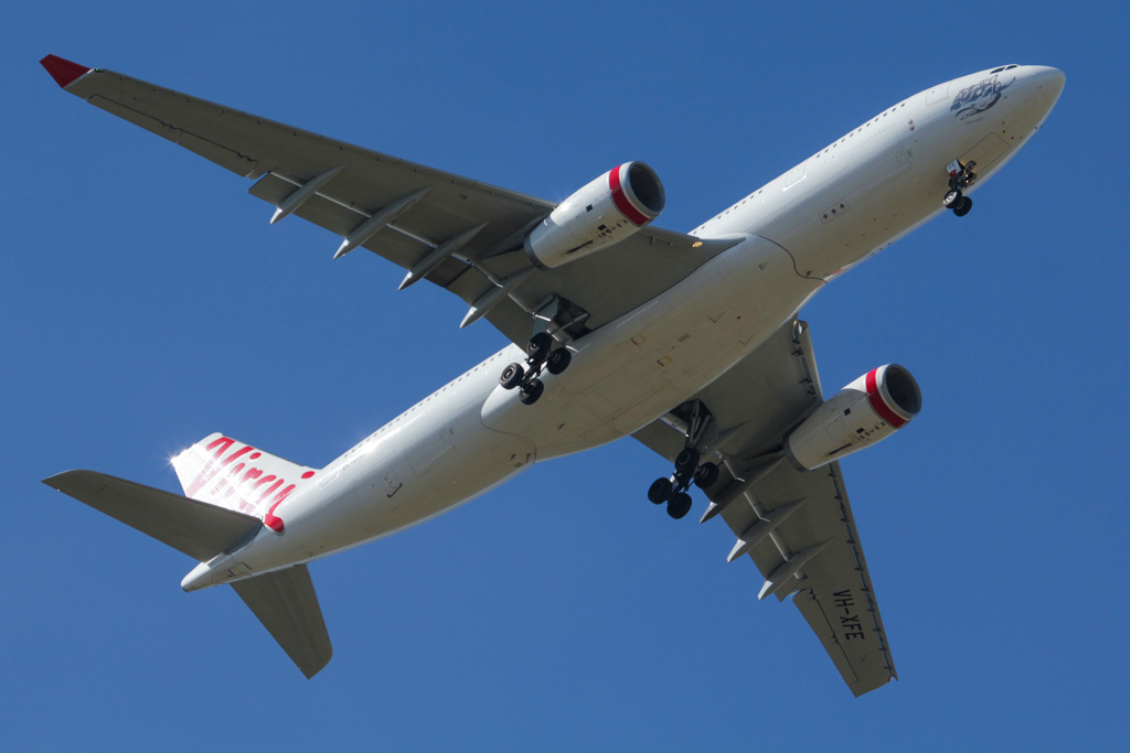 "VH-XFC Airbus A330-243 (cn 1293) of Virgin Australia, named ""Mooloolabah Beach"" over West Swan – Fri 26 April 2013"