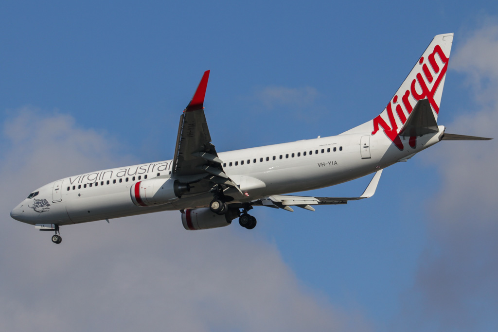 "VH-YIA Boeing 737-8FE (cn 37824/3718) of Virgin Australia, (named ""Henley Beach"" but not painted on aircraft) at Perth Airport – Fri 26 April 2013"