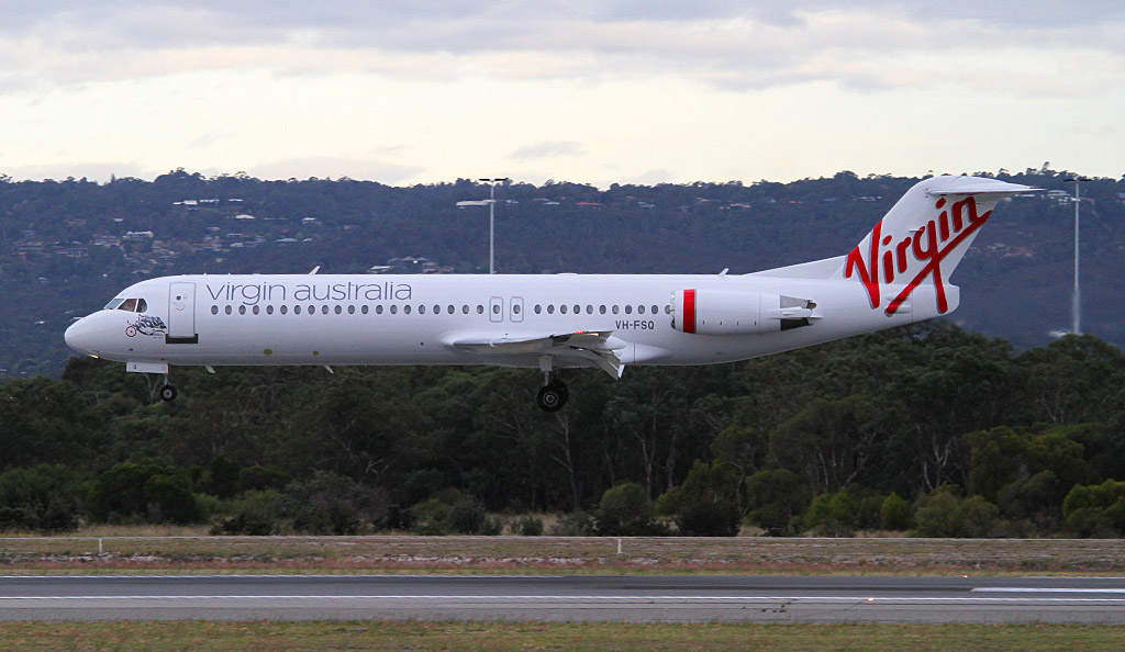 "VH-FSQ Fokker 100 (cn 11450) of Skywest Airlines / Virgin Australia Regional Airlines, named ""Bill's Bay"" at Perth Airport - Wed 1 May 2013."
