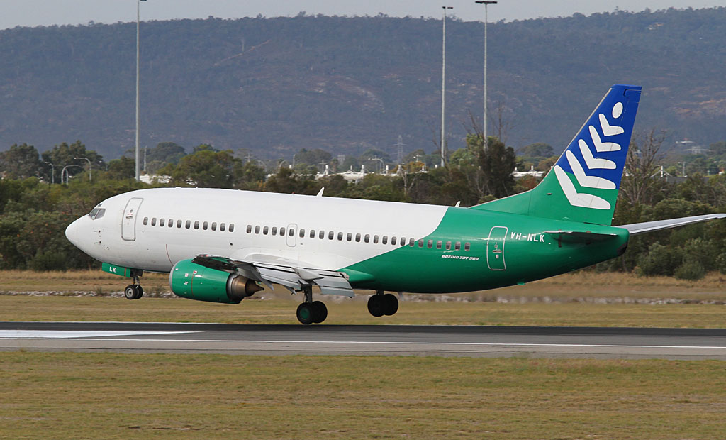 VH-NLK Boeing 737-33A (cn 23635/1436) of Our Airline (NorfolkAir titles) at Perth Airport - Wed 1 May 2013.