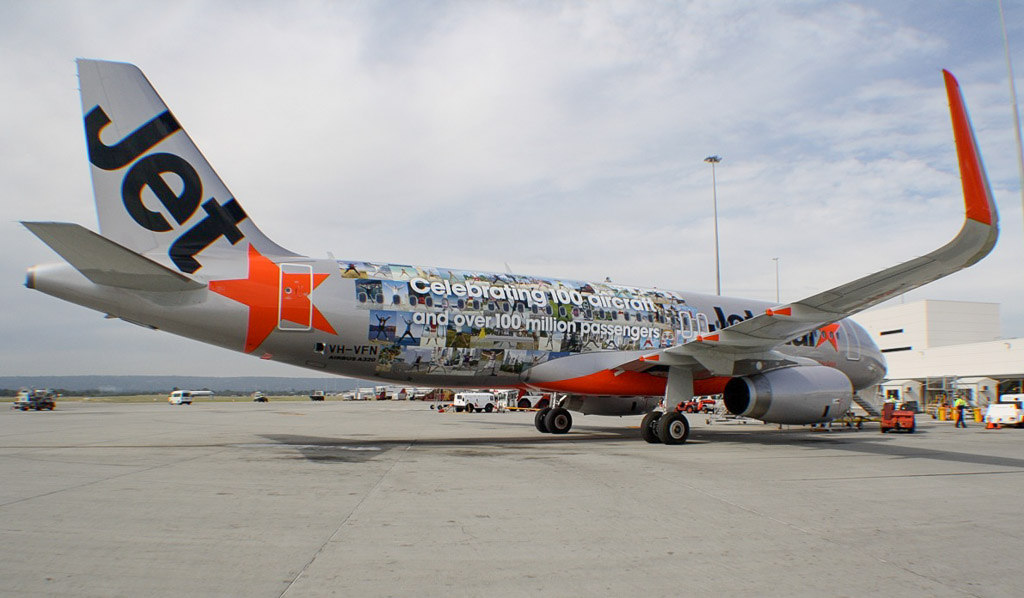 "VH-VFN Airbus A320-232 (cn 5566) of Jetstar (leased from BOC Aviation Corp) – special ""Celebrating 100 aircraft and over 100 million passengers"" logo at Perth - Mon 6 May 2013"