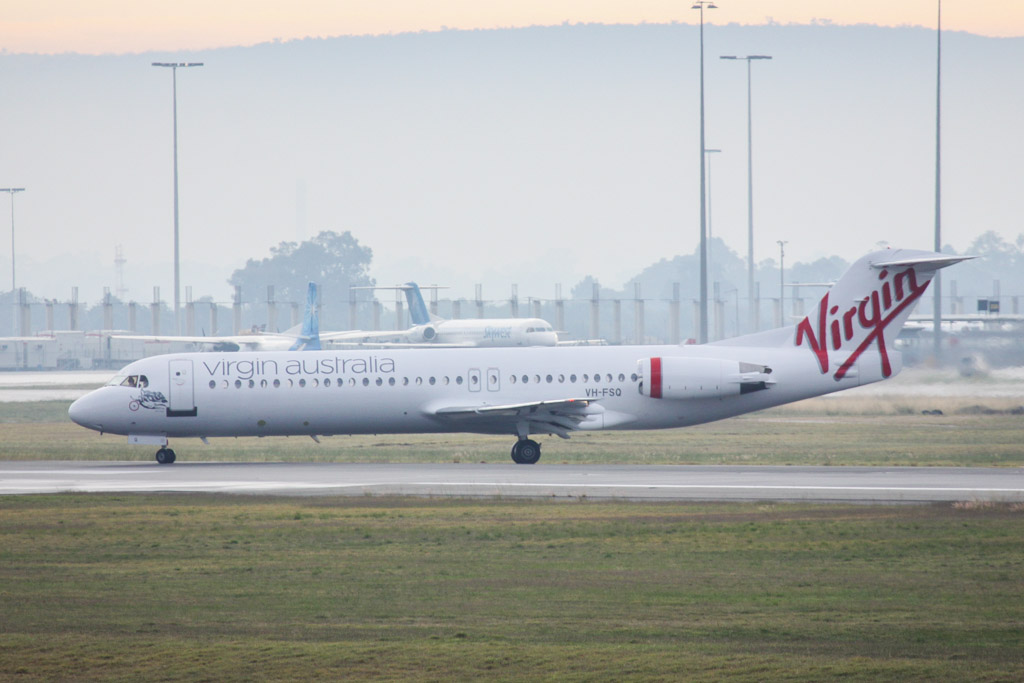 "VH-FSQ Fokker 100 (cn 11450) of Virgin Australia Regional Airlines, named ""Bill's Bay"" at Perth Airport – Sat 18 May 2013."