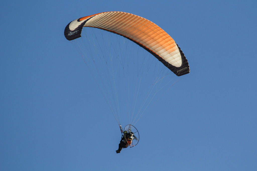 Paramania Revo 2 powered para glider (also known as a paramotor), over Mindarie Keys Marina on Sun 19 May 2013