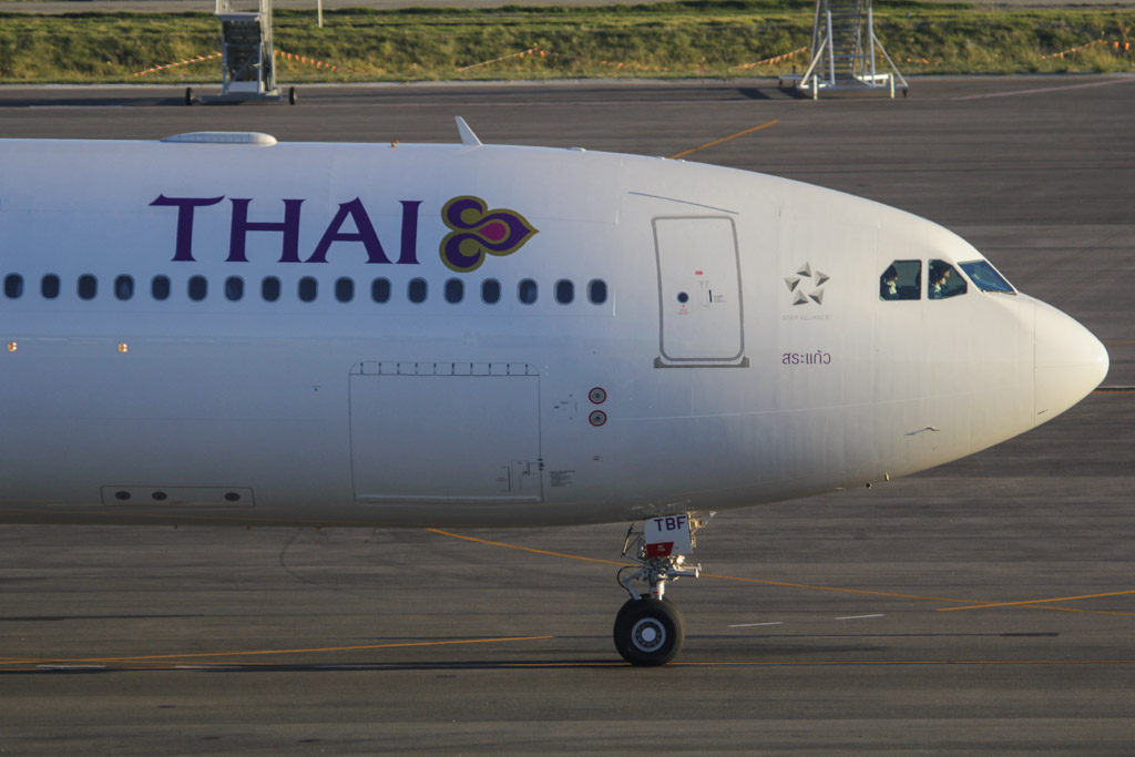 "HS-TBF Airbus A330-343X (cn 1374) of Thai Airways International, named ""Sa Kaeo"", at Perth Airport – Fri 24 May 2013"