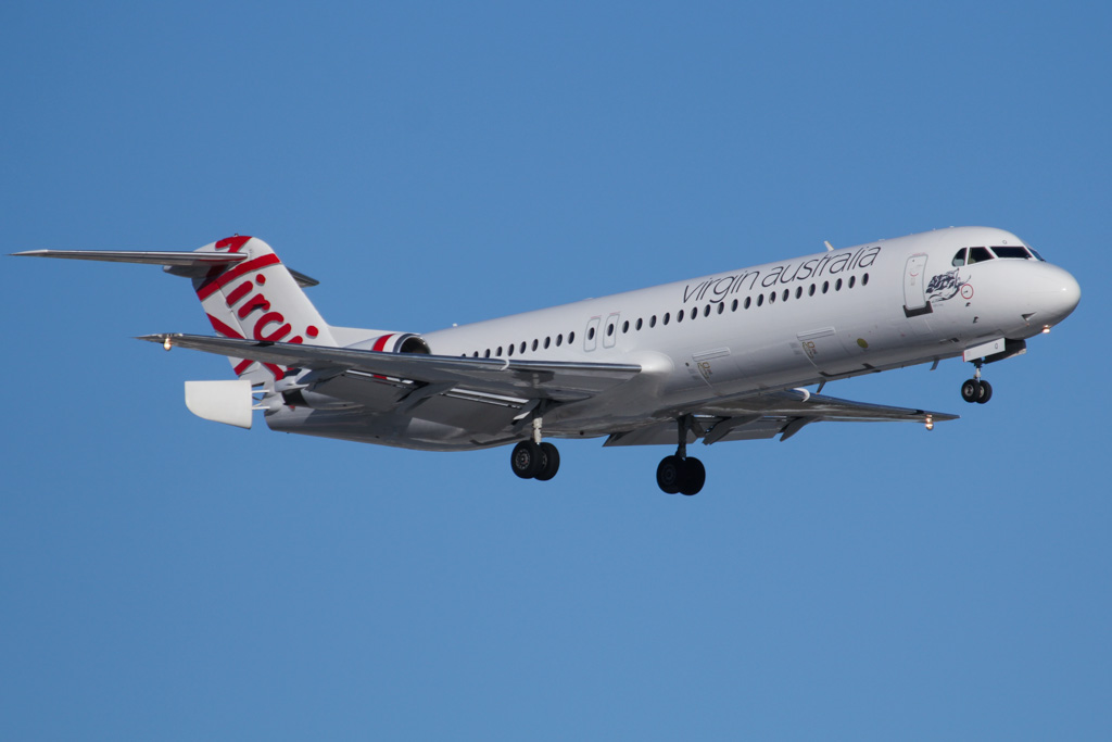 "VH-FSQ Fokker 100 (cn 11450) of Virgin Australia Regional Airlines, named ""Bill's Bay"" at Perth Airport – Fri 24 May 2013"