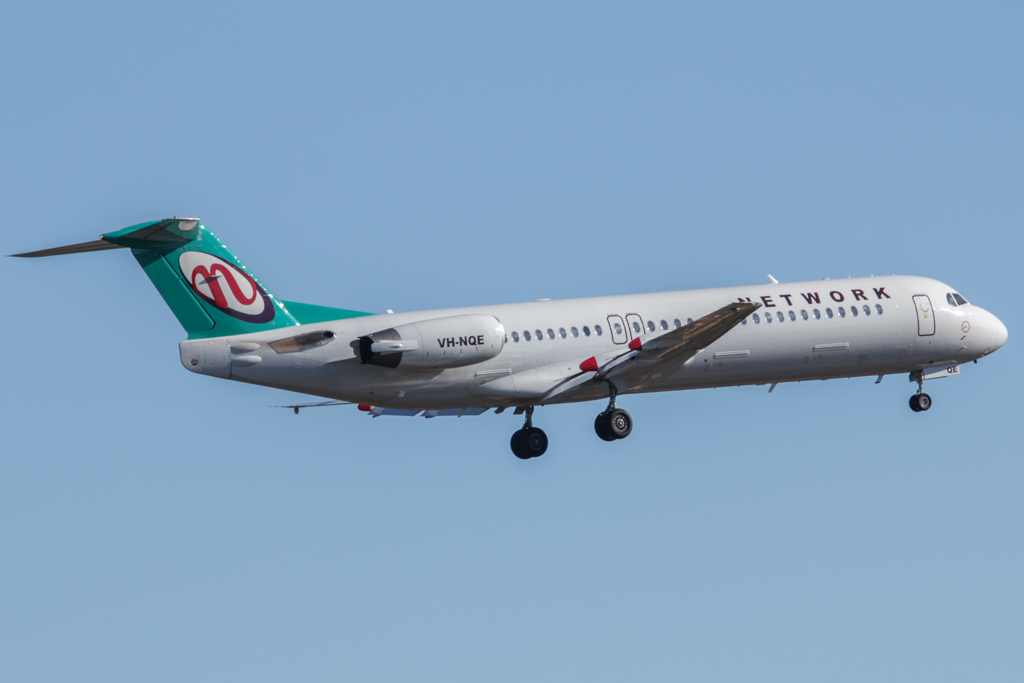 VH-NQE Fokker 100 (cn 11457) of Network Aviation at Perth Airport – Fri 24 May 2013