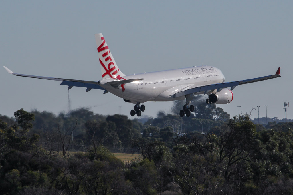 "VH-XFG Airbus A330-243 (cn 1407) of Virgin Australia, named ""Terrigal Beach"", at Perth Airport – Fri 24 May 2013"