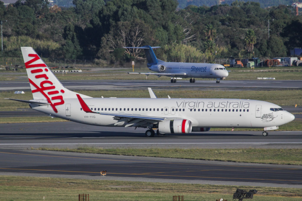 "VH-YIG Boeing 737-8FE (cn 38711/3921) of Virgin Australia, named ""Kings Beach"" at Perth Airport – Fri 24 May 2013"
