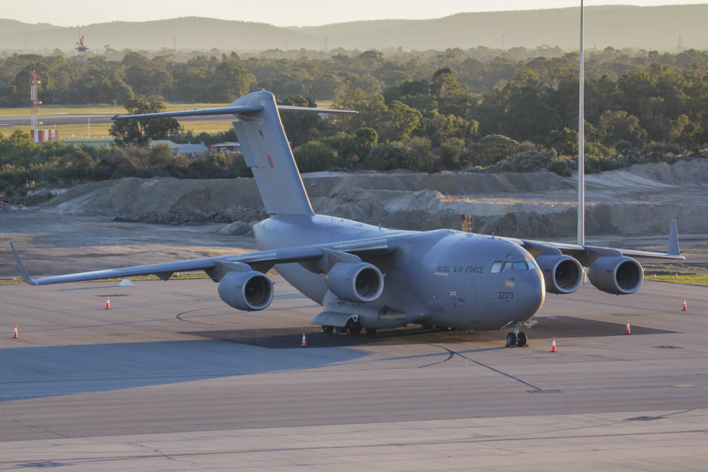 ZZ173 Boeing C-17A Globemaster III (cn F-80/UK-3) of 99 Squadron, Royal Air Force, based at RAF Brize Norton, UK at Perth Airport – Fri 24 May 2013