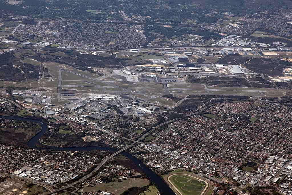 Aerial view of Perth Airport – Sat 25 May 2013.