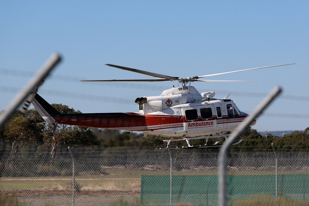 VH-EPK Bell 412EP (cn 36100) of CHC Helicopters / Lloyd Helicopters, in Victorian Air Ambulance colours, on lease to Department of Fire and Emergency Services at Jandakot Airport – Sun 26 May 2013 – ACFT Open Day