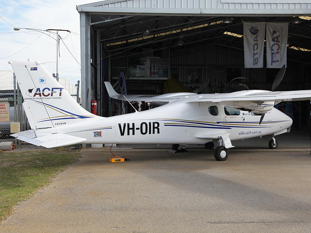 "VH-OIR Tecnam P2006T (cn 019) of ACFT / Aviation Concepts and Training Services Pty Ltd, named ""Eugene"" at Jandakot Airport – Sun 26 May 2013 – ACFT Open Day"