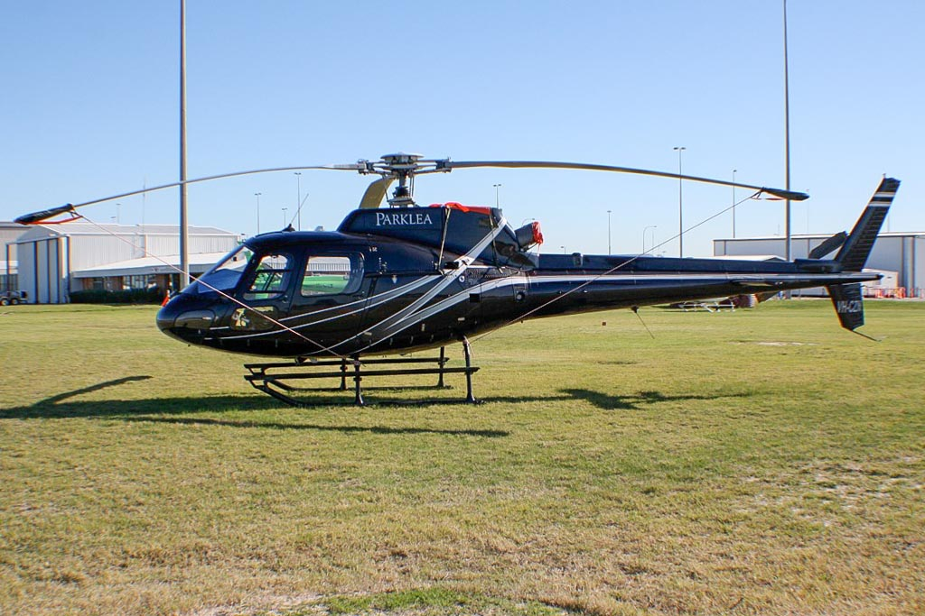 VH-CZN Eurocopter AS350B2 Squirrel (cn 4915) of ACF Air Charter Pty Ltd, Victoria, with Parklea titles at Perth Airport - Wed 29 May 2013.
