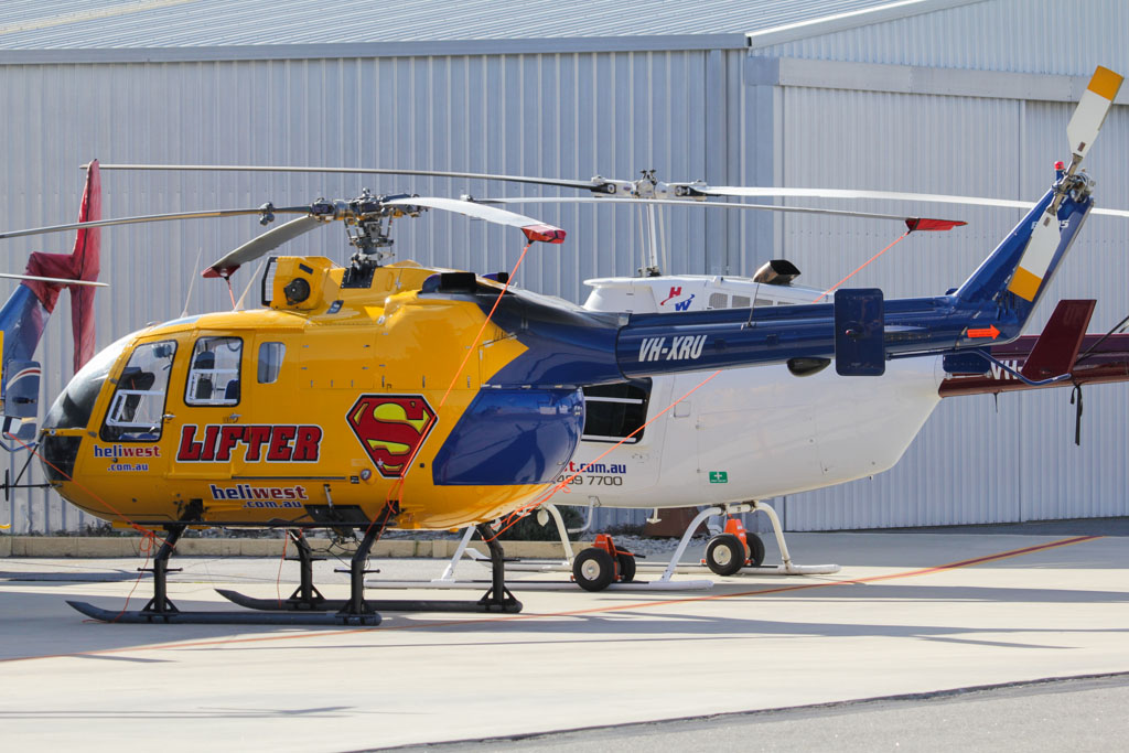 VH-XRU Eurocopter Bo105LS-A3 (cn 2043) of Heliwest in Super Lifter colours at Jandakot Airport – Mon 3 June 2013