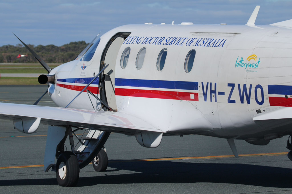 VH-ZWO Pilatus PC-12/45 (cn 467) of the Royal Flying Doctor Service – Western Operations at Jandakot Airport – Mon 3 June 2013