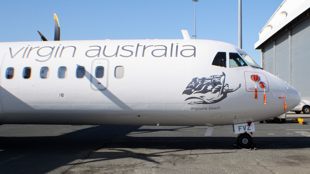 """VH-FVZ ATR 72-600 (ATR72-212A) (cn 1087) of Virgin Australia Regional Airlines (leased from Avation PLC), named """"Angourie Beach"""" at Perth Airport – Wed 5 June 2013"""