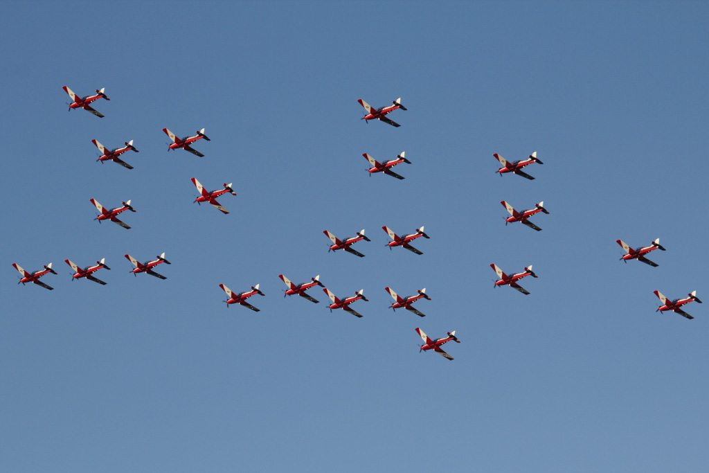 22 Pilatus PC-9/A of 2FTS, RAAF in Thunderbird formation over northern suburbs of Perth - Wed 12 June 2013.