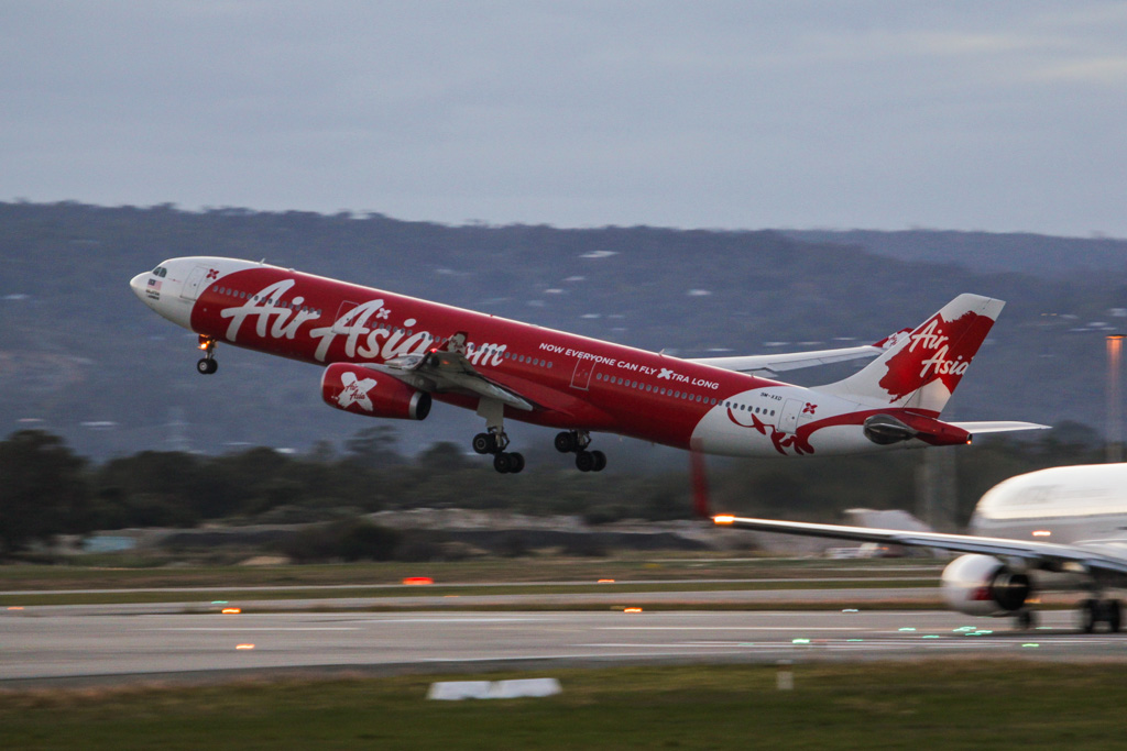 """9M-XXD Airbus A330-343X (cn 1066) of AirAsia X, named """"Soaring Xpectations"""" at Perth Airport - Fri 14 June 2013."""