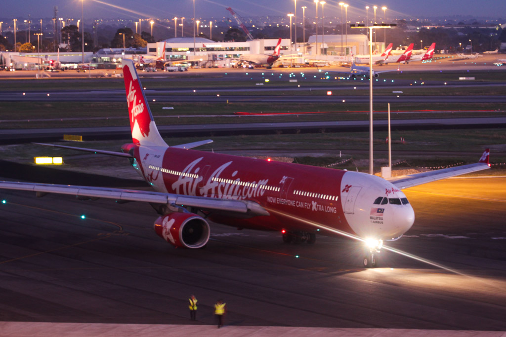 """9M-XXB Airbus A330-343X (cn 974) of AirAsia X, named """"Xhilaration!"""" at Perth Airport – Wed 19 June 2013."""