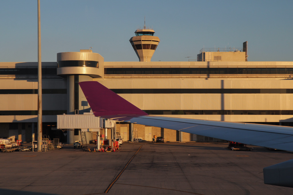 """Terminal 1 and Control Tower, seen from HS-TBD Airbus A330-343X (cn 1338) of Thai Airways, named """"Phayao"""", at Perth Airport - Fri 21 June 2013"""
